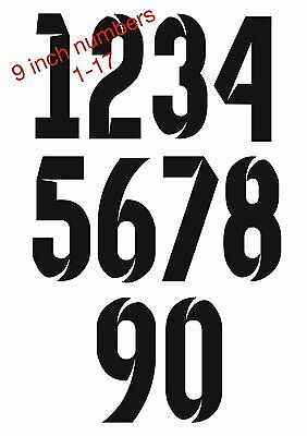 Full Set Of Football Shirt Iron On Heatpress Numbers 1-17. Choose Your Colour