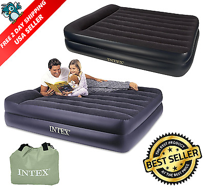 Intex Queen Size Elevated Air Bed With Built In Electric Pump