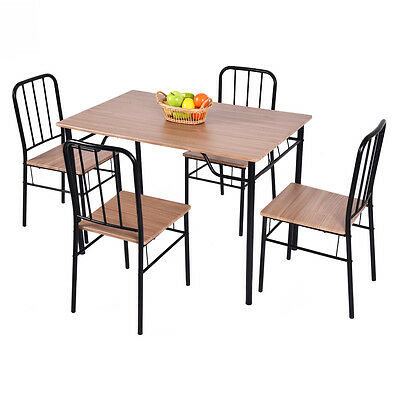 5 PCS Dining Set Table And 4 Chairs Metal Wood Home Kitchen Modern Furniture NEW