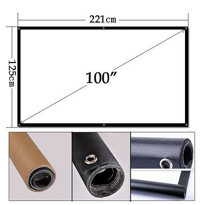"""100"""" Inch Projector Screen 16:9 Portable Home Theater HD TV Outdoor Projection"""
