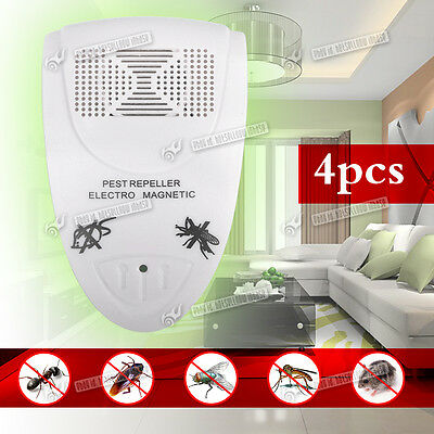 4x Ultra Sonic Plug In Mice Mouse Rodent Rat Spider Ant Repeller Pest Control