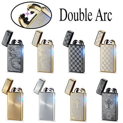 Luxury E-Lighter Rechargeable Cigarette Flameless Double Arc Windproof Electric