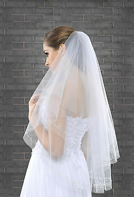 """New Women 2 Tier White Ivory Wedding Bridal Elbow Veil With Comb Length 32"""""""