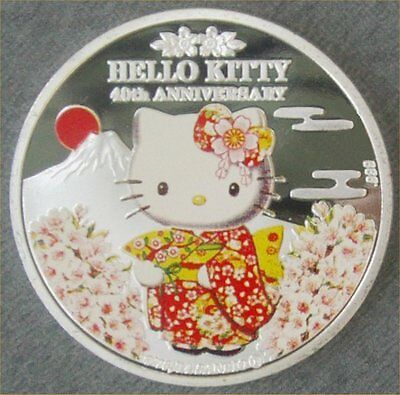 Hello Kitty 40th Anniversary Mount Fuji Silver Plate Colourised Collectors Coin