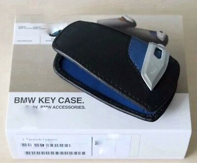 Key Holder Fob Leather Case/Cover M Sport Blue For BMW
