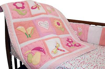 New 100% Cotton Baby Bedding Crib Girl Classic Pink Floral Butterfly 3 pc Set