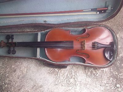Vintage Antique Old Beautiful Bulgarian 4/4 Violin Cremona With Case And Bow