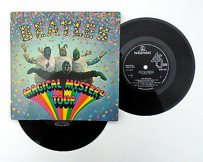"The Beatles ~ Magical Mystery Tour 7"" Double EP ~ Solid Centre MMT 1  Blue Lyric"