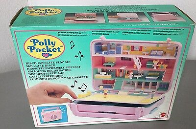 1989# Vintage POLLY POCKET  Disco Cassette Play Set Mattel #NIB PLAYSET