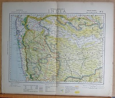1883  Antique Map India, Bombay, Beejapoor, Hydrabad, Aurungabad