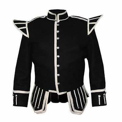 100% Wool Brand New Military Piper Drummer Doublet Tunic Pipe Band Black Jacket