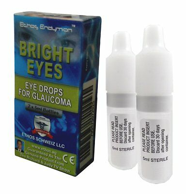 Ethos Bright Eyes NAC Glaucoma Eye Drops. One Box includes 2x5ml Bottles.