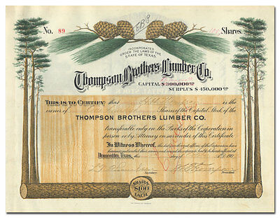 Thompson Brothers Lumber Co. Stock Certificate Signed by J. L. Thompson