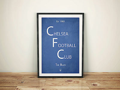 Chelsea Football Club A4 Picture Art Poster Retro Vintage Style Print CFC