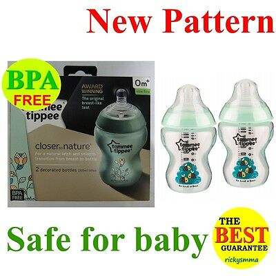 2x Tommee Tippee Closer to Nature Green Decorated Bottle 260ml