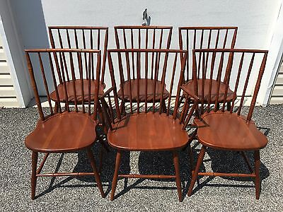 set 6 mid century 1950's STATTON solid cherry faux bamboo dining chairs