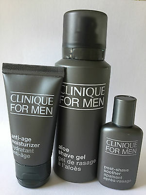Clinique For Men anti-age moisturizer, aloe shave gel, post-shave soother NEW