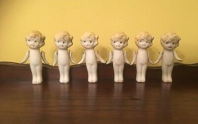 """6 Antique 3"""" Bisque Dolls Hinged Arms Made In Japan"""