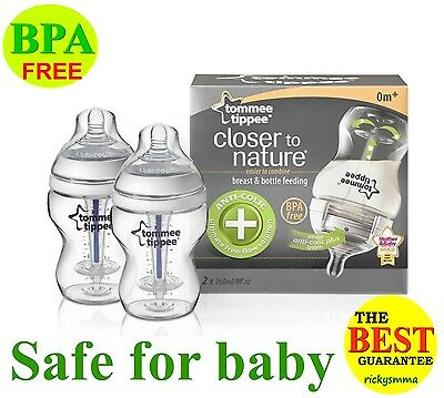 Tommee Tippee Anti-Colic Plus 260ml 9oz Ounce Milk Bottle Soft Natural Sensitive