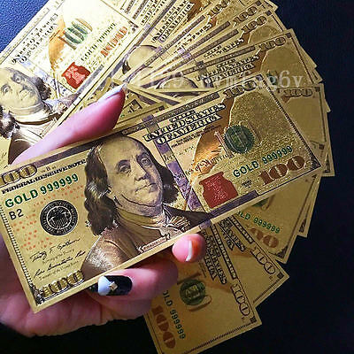 1PC 24K Gold Foil Dollars New Style $100 Banknotes Home Decor Collections Gifts
