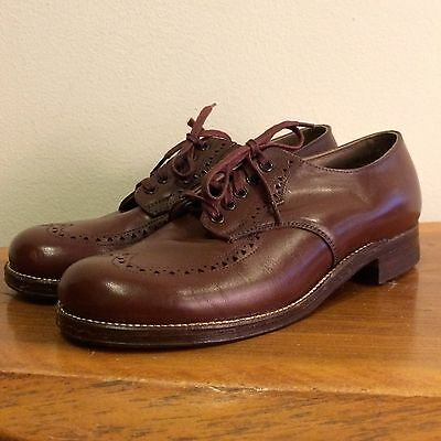 Brown Leather Boys Deadstock Vintage 50s Saddle Shoes