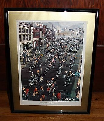Orig Vintage 1966 David Mann Ed Roth Outlaw Motorcycle Parade Springfield Poster