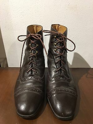 St Michael Brown Leather Brogue Lace Up Ankle Boots 5 38 Vintage