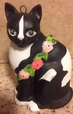 Christmas Ornament Figurine Handcrafted For Silvestri Cat Black Flower Garden