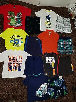 NWT Size 4T 4 summer Clothing Lot Outfits Boys Shorts Shirts