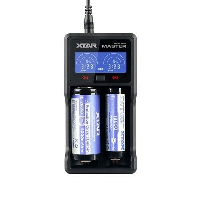 XTAR VC2 Plus Master USB Li-Ion Ni-MH Battery LCD 18350 CR123A 18650 Charger