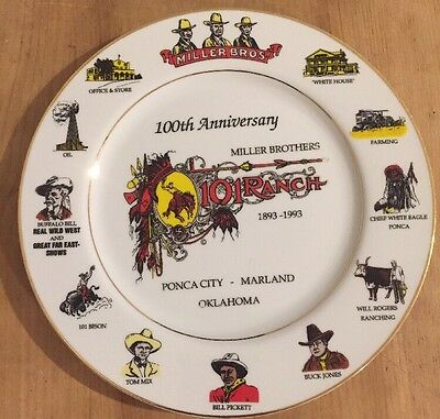 101 Ranch Miller Brothers 100th Anniv Plate 1893-1993 Buffalo Bill  Oklahoma