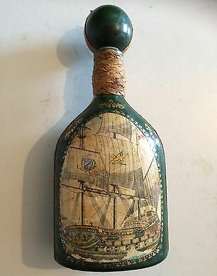 Green leather covered bottle wine Ceschia Decanter Italian Medieval Galley Vgt