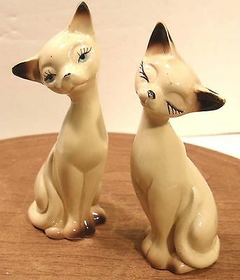 Vintage Ceramic Siamese Cat Figural Salt & Pepper Shakers