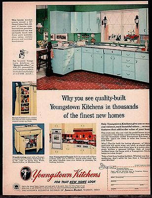1956 YOUNGSTOWN Aqua Turquoise Kitchen Cabinets Retro Mid-Century 1950s Ad