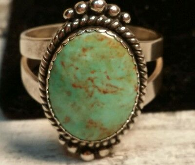"""Beautiful Sterling Silver """"Carolyn Pollack"""" Green Turquoise Ring"""