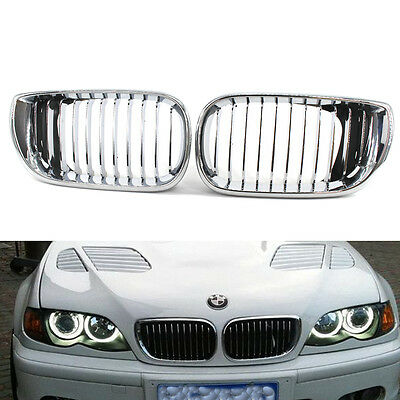 Chrome Silver Front Kidney Grille Grill For BMW 3 Series E46 4 Door Sedan 02-05