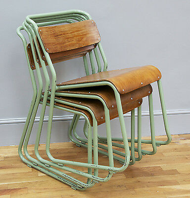 Set of 4 vintage industrial PEL Remploy style stacking chairs