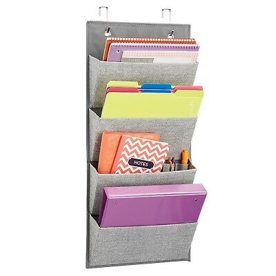mDesign Wall Mount/Over the Door Fabric Office Supplies Storage Organizer for...