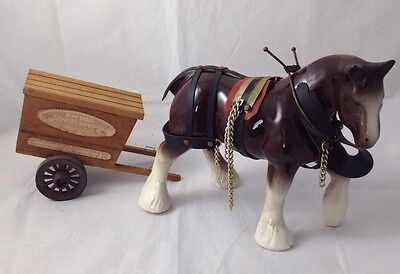Shire Horse Ornament With Handmade Cart