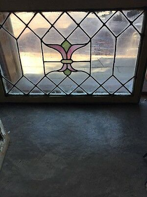 Sg 1176 Antique Leaded Glass Transom Window 23 3/4 X34 1/2""