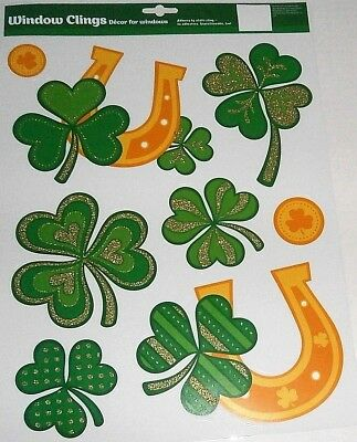 St. Patrick's Day  Window Clings  SHAMROCKS WITH LUCKY HORSESHOES AND COINS