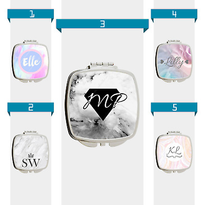 Marble Personalised Custom INITIALS Name Compact Handbag Make Up Cosmetic Mirror