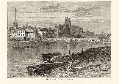 Antique Print, Worcester, View From St John's 1897