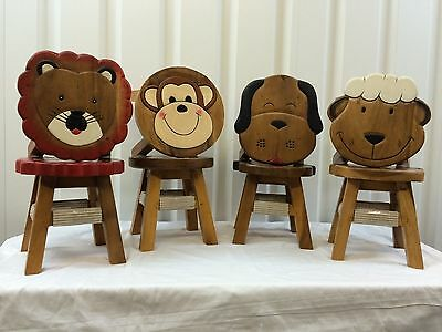 Children's Wooden Hand Crafted Animal Stools - Lion, Monkey, Dog & Sheep
