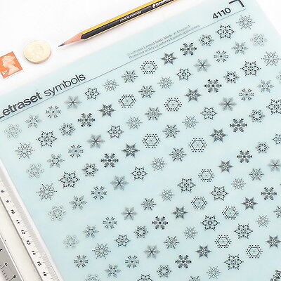 Letraset SNOWFLAKES Symbols 4110 Rub On Dry Transfer Letters VGC +%DISCOUNTS