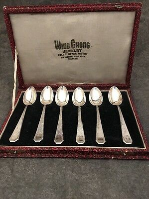 Chinese Export silver .900 not Sterling Wing Chong Jewelry 6 Teaspoon set w/ box