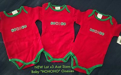 "CLOSING DOWN SALE!! Lot x3Pc NEW ""HOHOHO"" Baby Unisex Onesies Assorted Sizes"