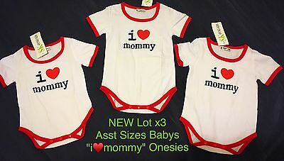"CLOSING DOWN SALE!! Lot x3Pc NEW ""I Love Mommy"" Baby Unisex Onesies Asst Sizes"