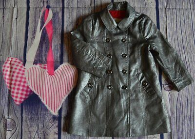 Burberry Baby Girls Designer Lightweight Lined Romany Coat 2 years Silver Grey