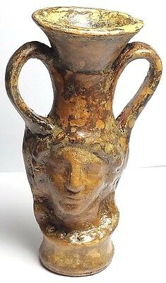 Ancient Greece 300 Bc Authentic Terracotta Vessel With High Relief Of Apollo